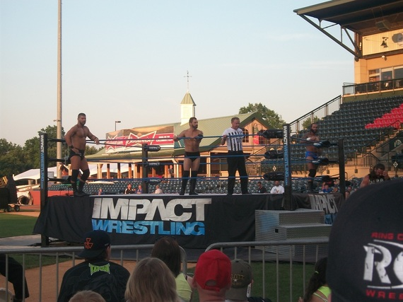 Austin Aries & Bobby Roode (The Dirty Heels) prepare to square off against Gunner & James Storm - TNA Impact Wrestling - Lexington, KY