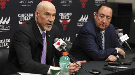 Chicago Bulls General Manager Gar Forman and Chicago Bulls VP of Basketball Operations, John Paxson